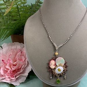 ✨Adorned Crown cameo floral rhinestone necklace